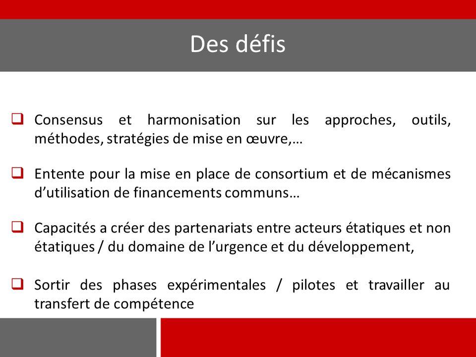 Des défis Consensus et harmonisation sur les approches, outils, méthodes, stratégies de mise en œuvre,…