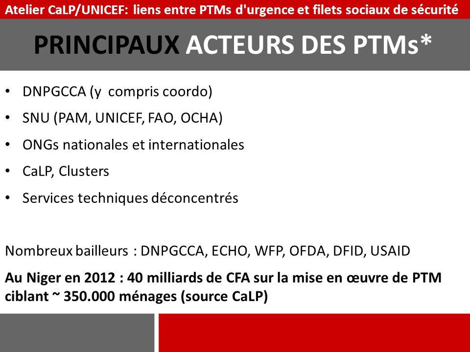 PRINCIPAUX ACTEURS DES PTMs*