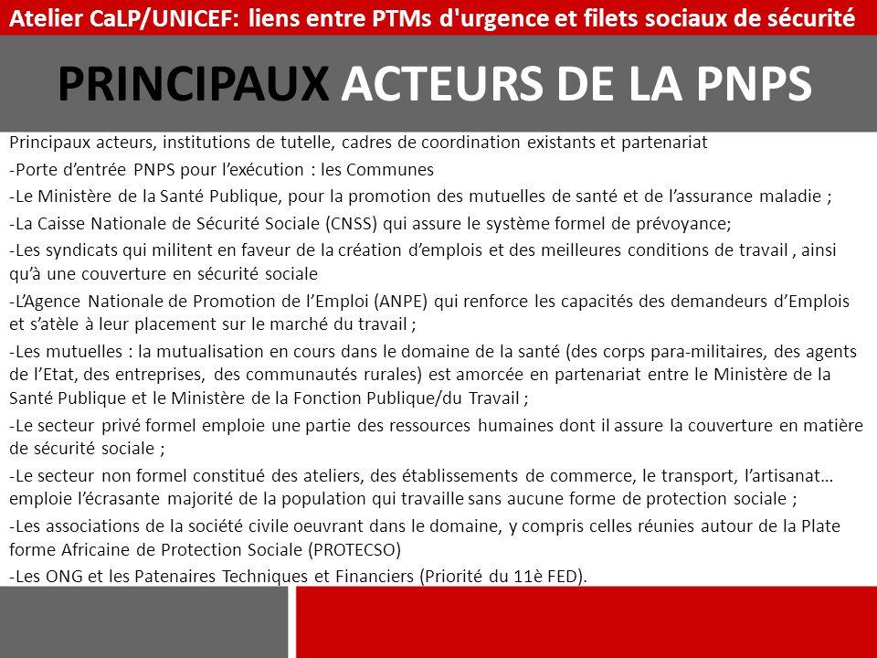 PRINCIPAUX ACTEURS DE LA PNPS