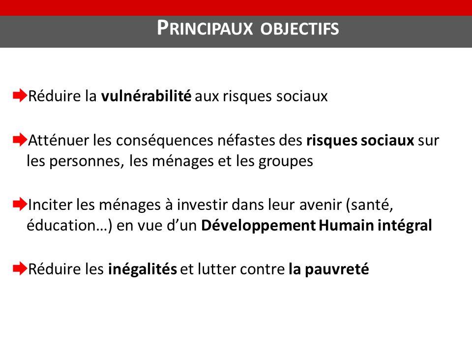 Principaux objectifs Réduire la vulnérabilité aux risques sociaux