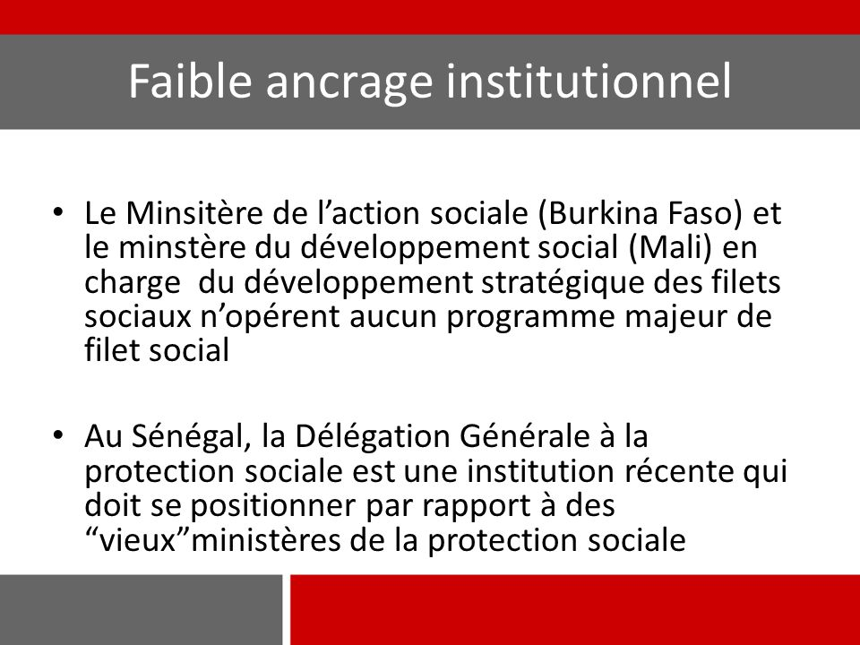Faible ancrage institutionnel