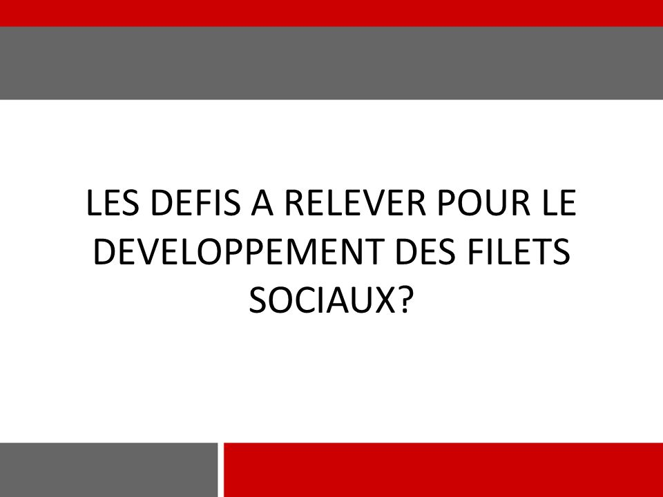 LES DEFIS A RELEVER POUR LE DEVELOPPEMENT DES FILETS SOCIAUX