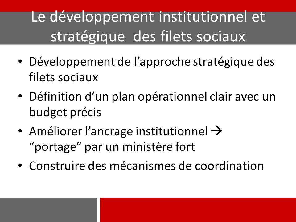 Le développement institutionnel et stratégique des filets sociaux