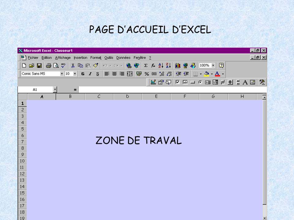 PAGE D'ACCUEIL D'EXCEL