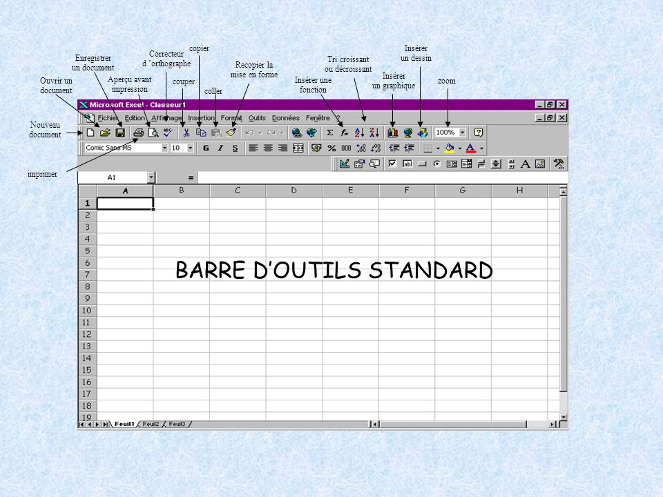 BARRE D'OUTILS STANDARD