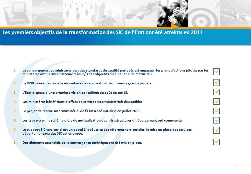 Les premiers objectifs de la transformation des SIC de l'Etat ont été atteints en 2011