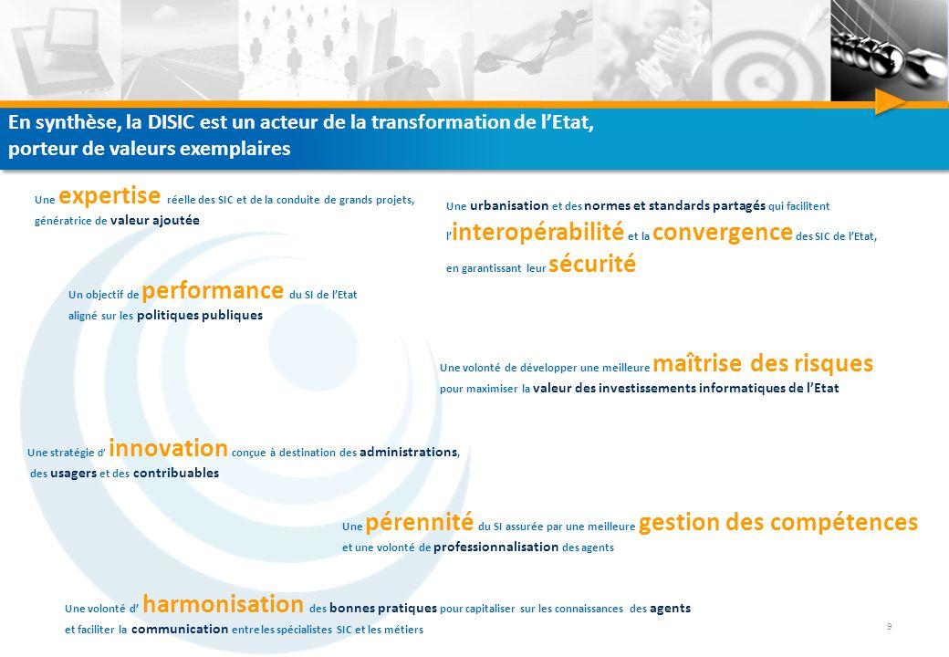 En synthèse, la DISIC est un acteur de la transformation de l'Etat,