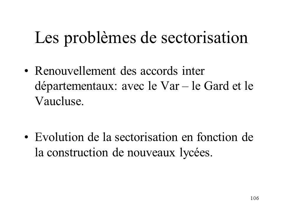Les problèmes de sectorisation