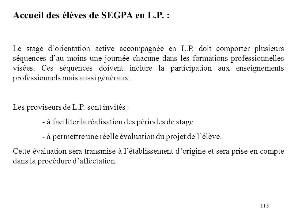 Accueil des élèves de SEGPA en L.P. :