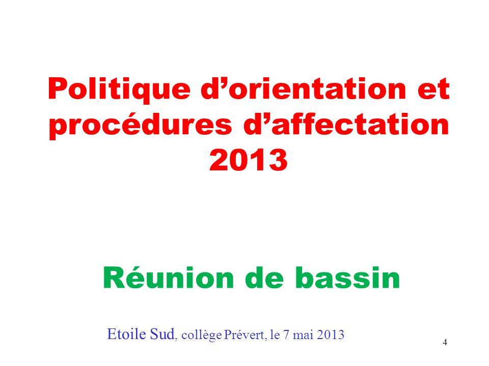 Politique d'orientation et procédures d'affectation 2013