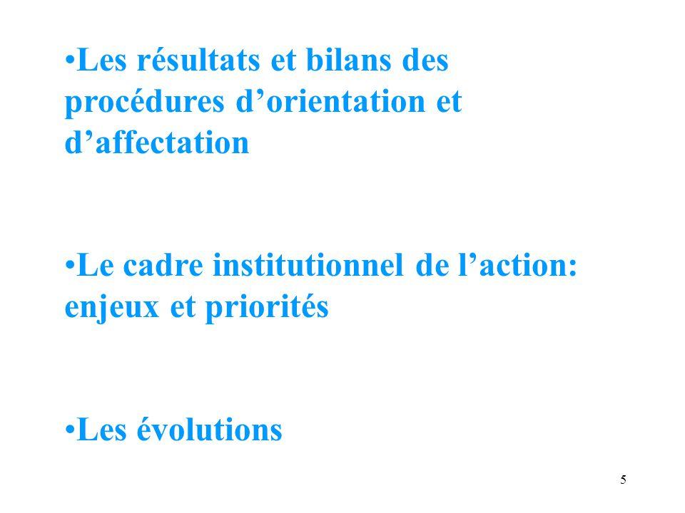 Les résultats et bilans des procédures d'orientation et d'affectation