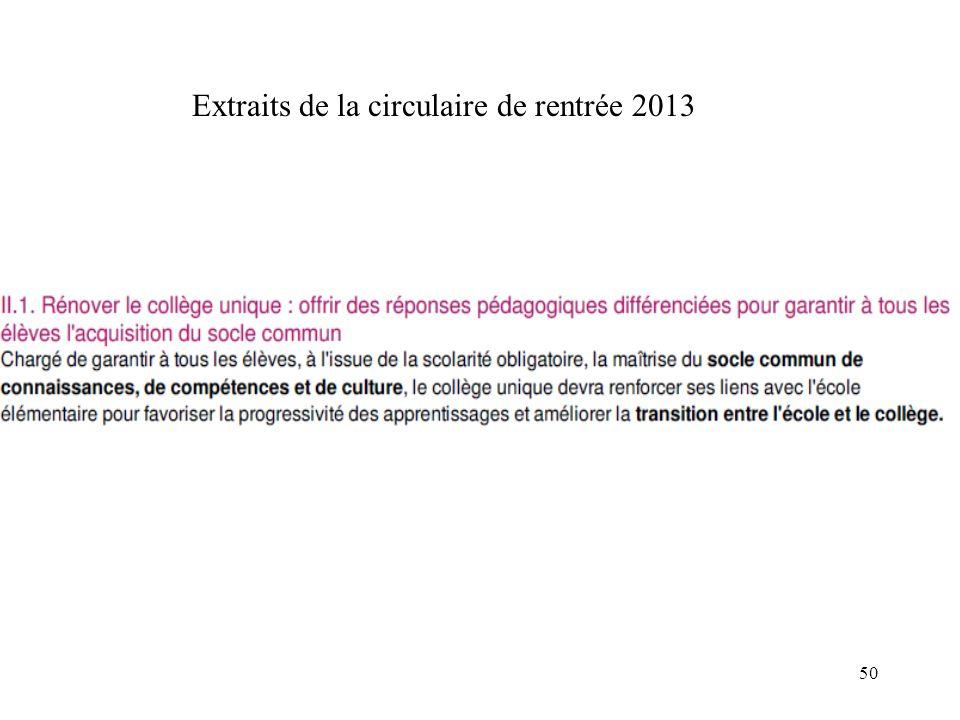 Extraits de la circulaire de rentrée 2013