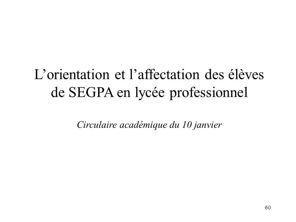 L'orientation et l'affectation des élèves de SEGPA en lycée professionnel Circulaire académique du 10 janvier