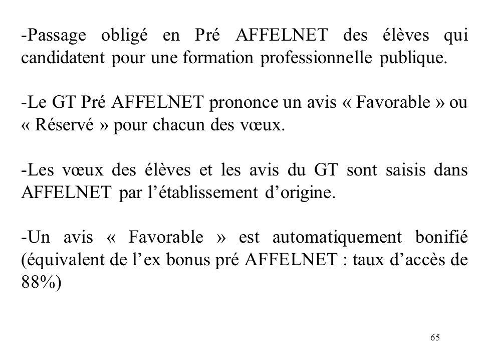 Passage obligé en Pré AFFELNET des élèves qui candidatent pour une formation professionnelle publique.