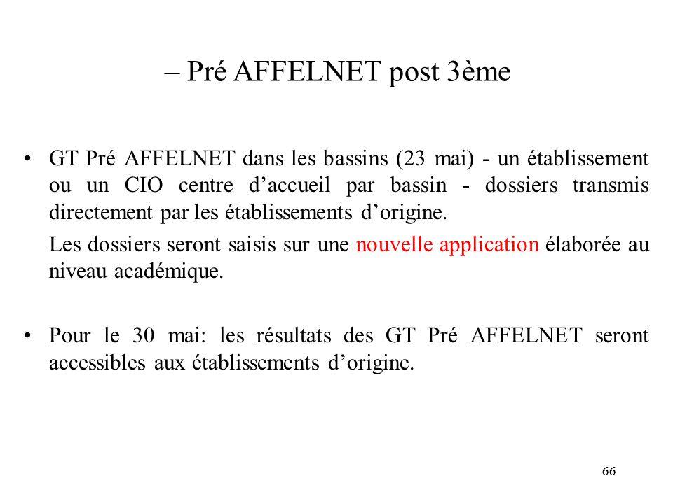 – Pré AFFELNET post 3ème