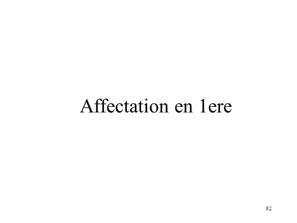 Affectation en 1ere