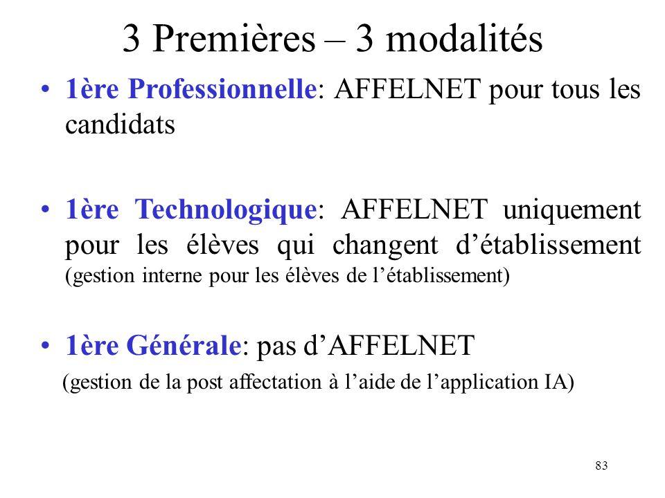 3 Premières – 3 modalités 1ère Professionnelle: AFFELNET pour tous les candidats.