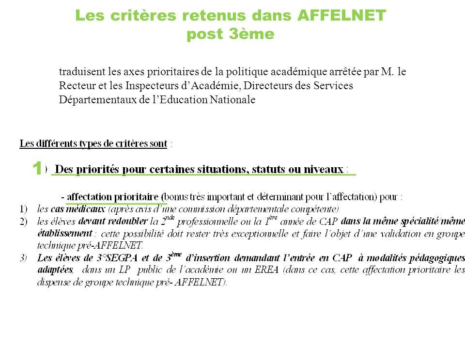 Les critères retenus dans AFFELNET post 3ème
