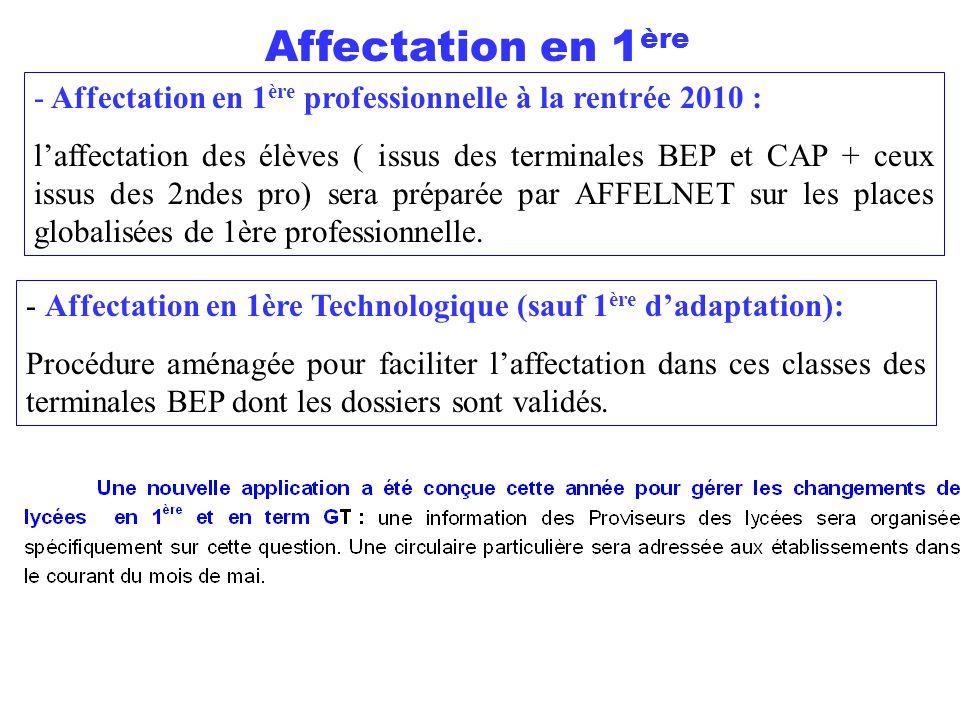 Affectation en 1ère Affectation en 1ère professionnelle à la rentrée 2010 :