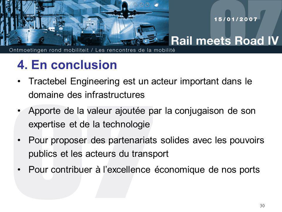 4. En conclusion Tractebel Engineering est un acteur important dans le domaine des infrastructures.