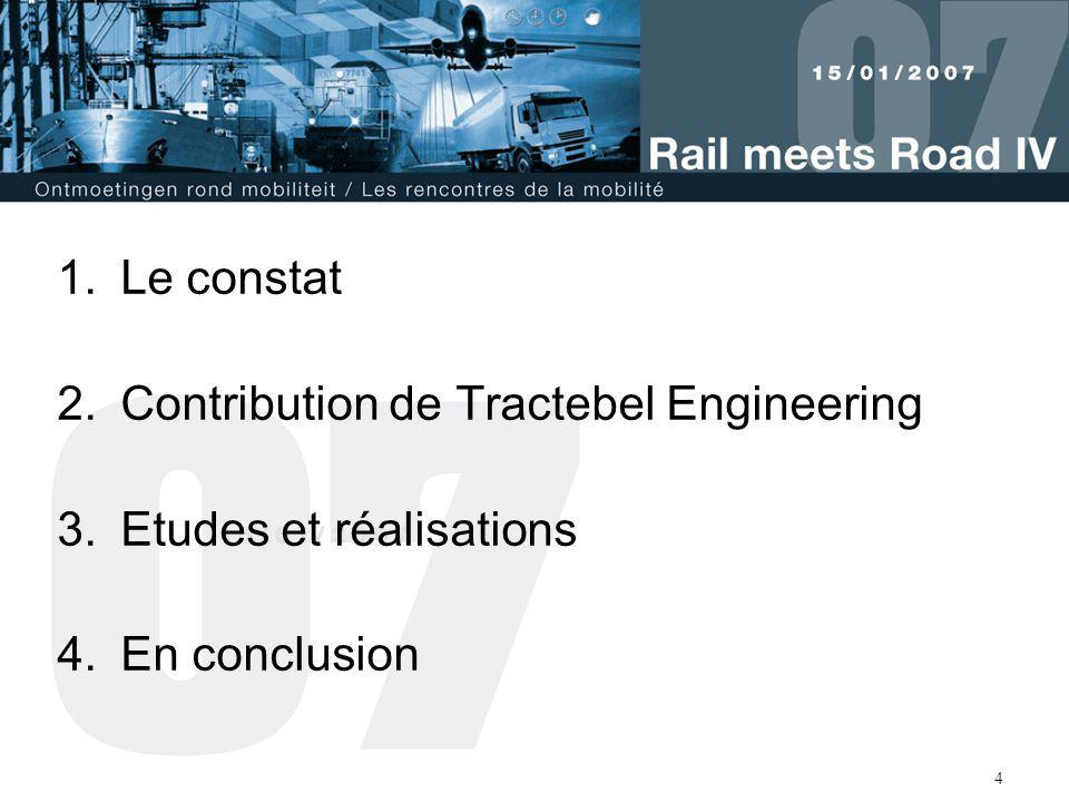 Le constat Contribution de Tractebel Engineering Etudes et réalisations En conclusion