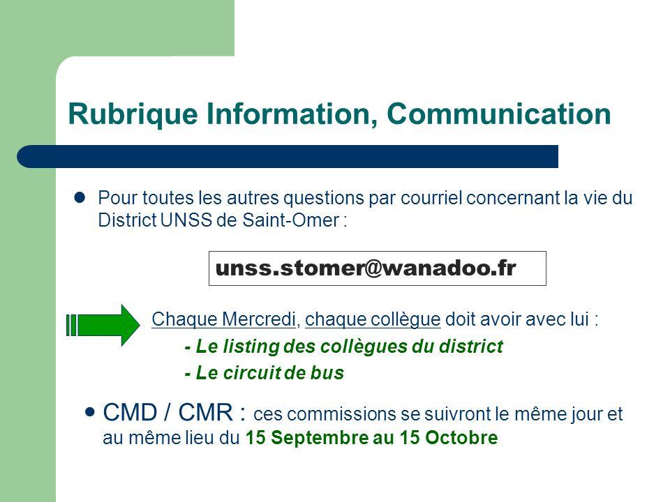 Rubrique Information, Communication