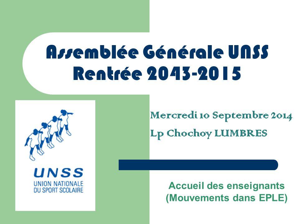 Assemblée Générale UNSS Rentrée 2043-2015