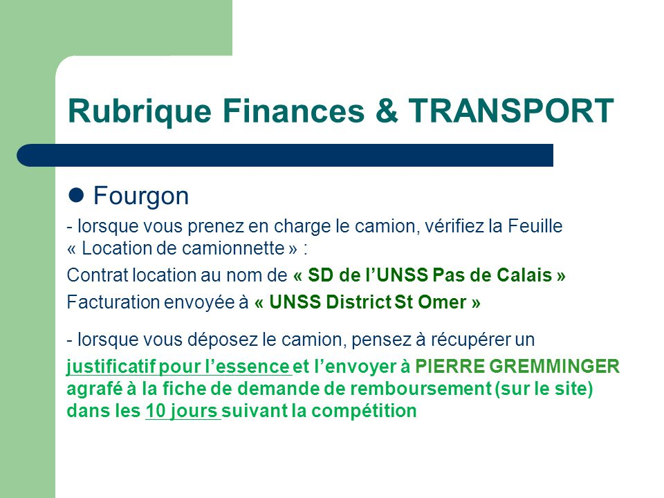 Rubrique Finances & TRANSPORT