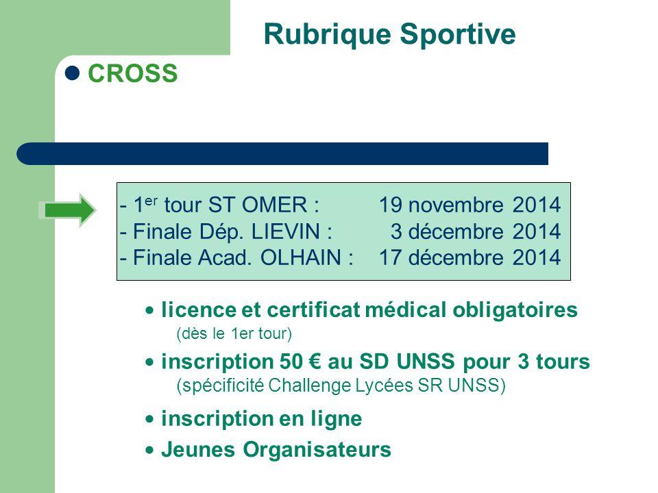Rubrique Sportive CROSS - Finale Dép. LIEVIN : 3 décembre 2014