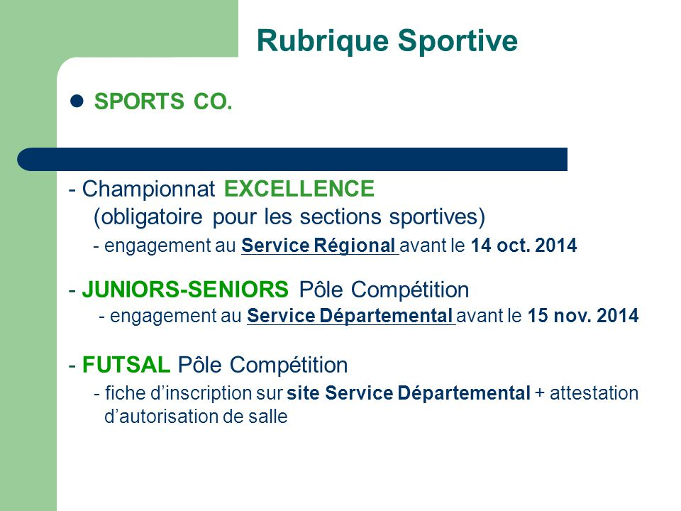 Rubrique Sportive SPORTS CO. - Championnat EXCELLENCE