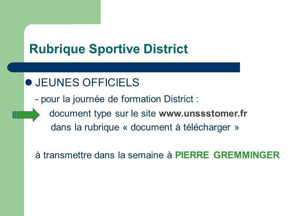 Rubrique Sportive District