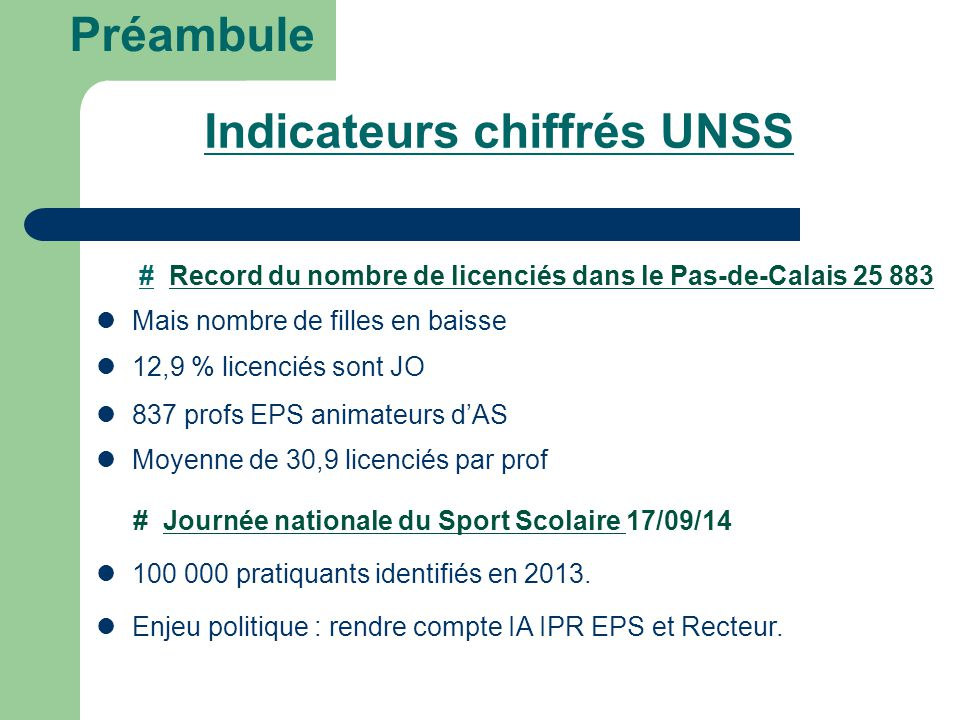 Indicateurs chiffrés UNSS