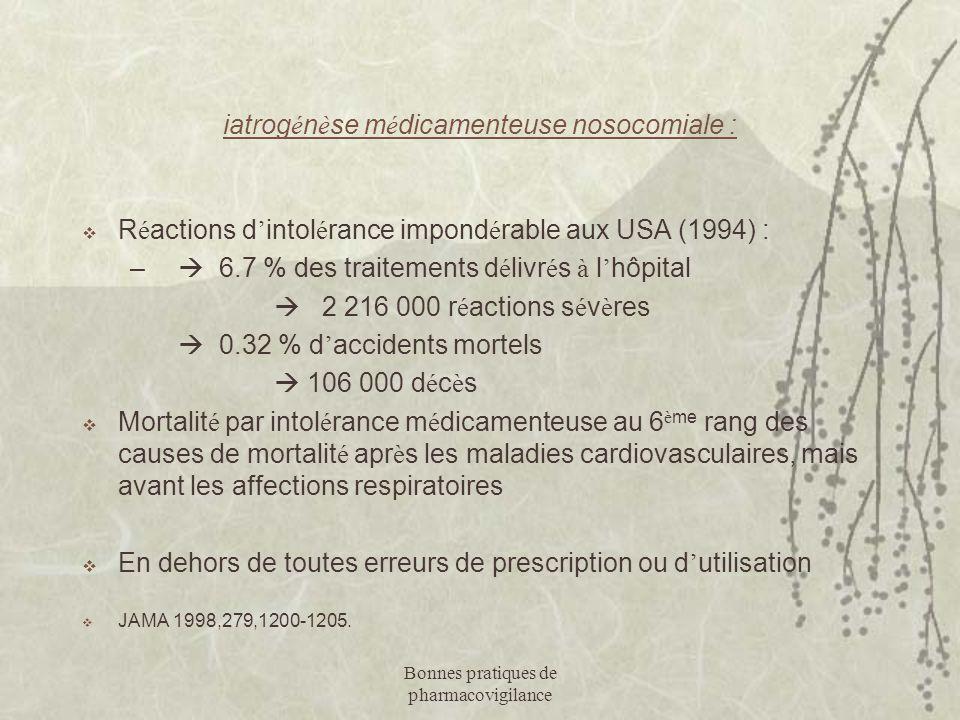 iatrogénèse médicamenteuse nosocomiale :