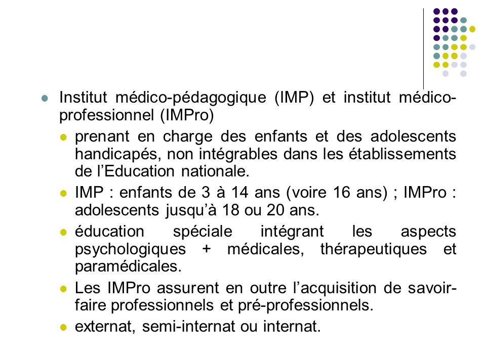 Institut médico-pédagogique (IMP) et institut médico-professionnel (IMPro)