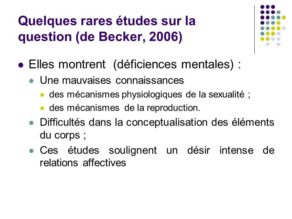 Quelques rares études sur la question (de Becker, 2006)