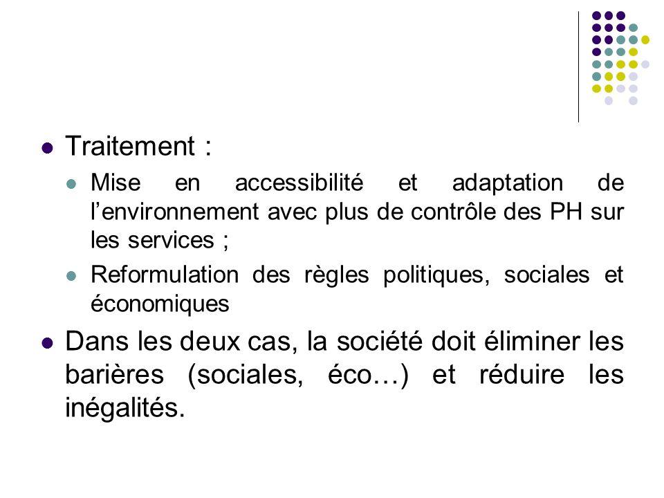 Traitement : Mise en accessibilité et adaptation de l'environnement avec plus de contrôle des PH sur les services ;