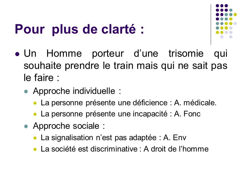 Pour plus de clarté : Un Homme porteur d'une trisomie qui souhaite prendre le train mais qui ne sait pas le faire :