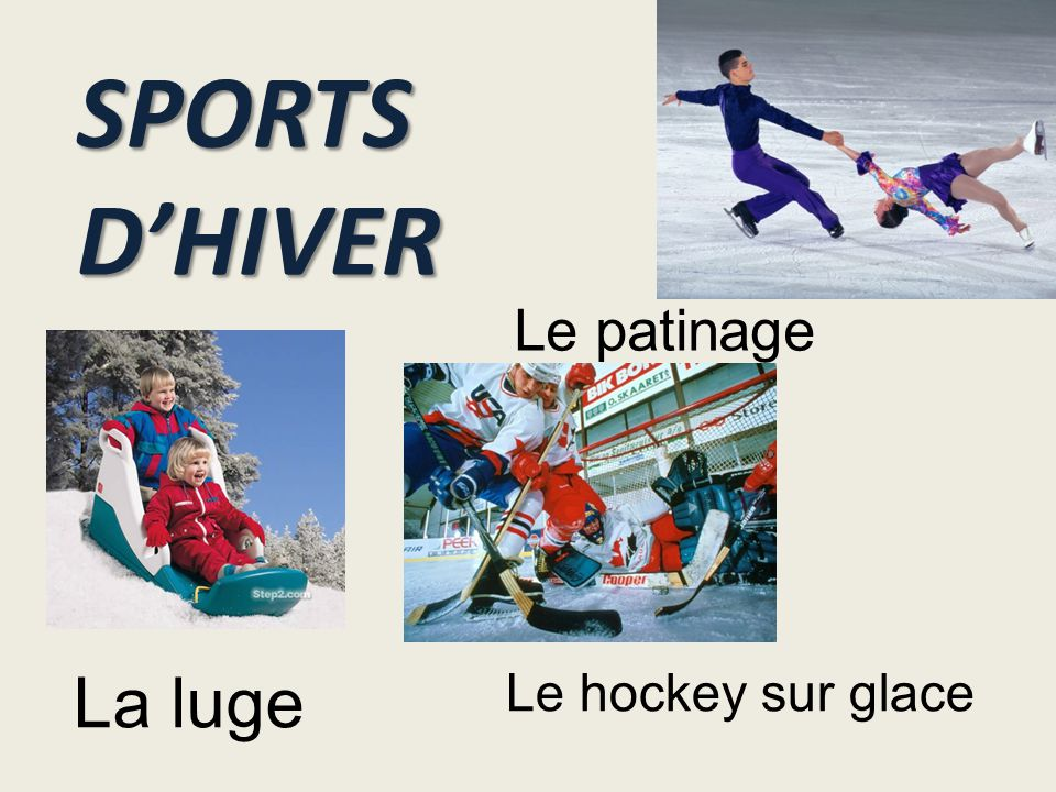 SPORTS D'HIVER Le patinage La luge Le hockey sur glace