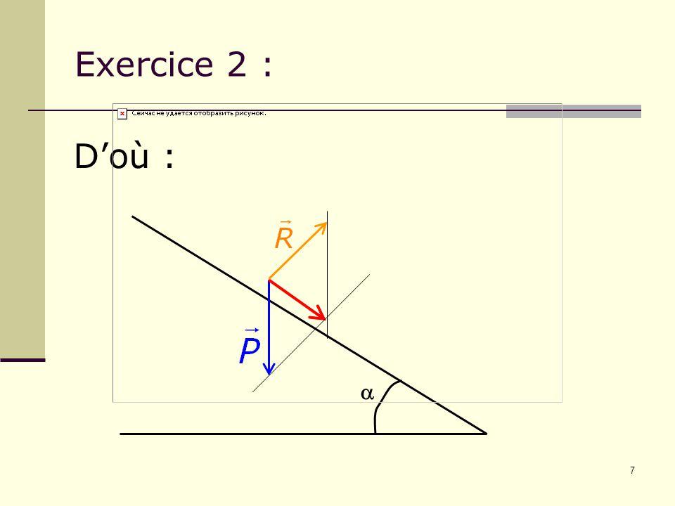 Exercice 2 : D'où : a