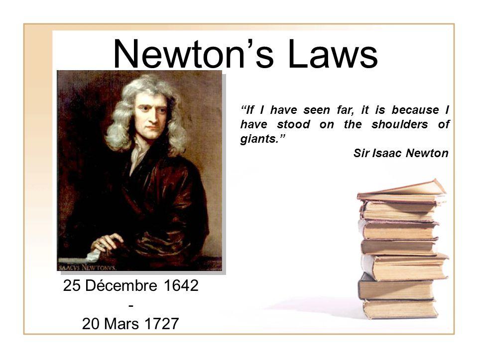 Newton's Laws 25 Décembre 1642 - 20 Mars 1727