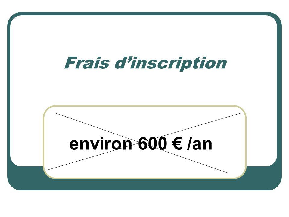 Frais d'inscription environ 600 € /an