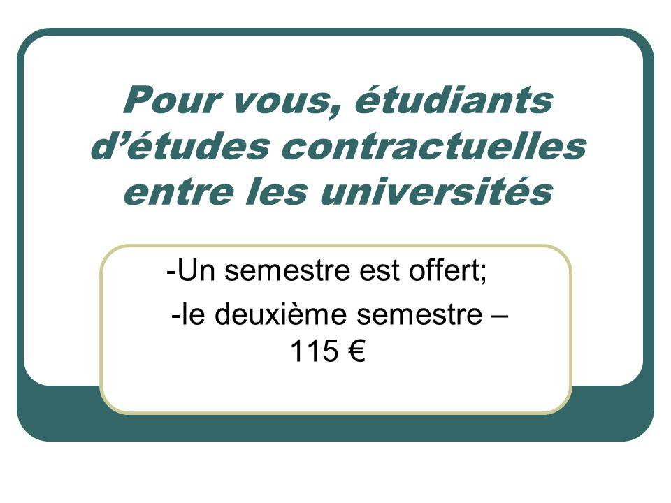 Pour vous, étudiants d'études contractuelles entre les universités