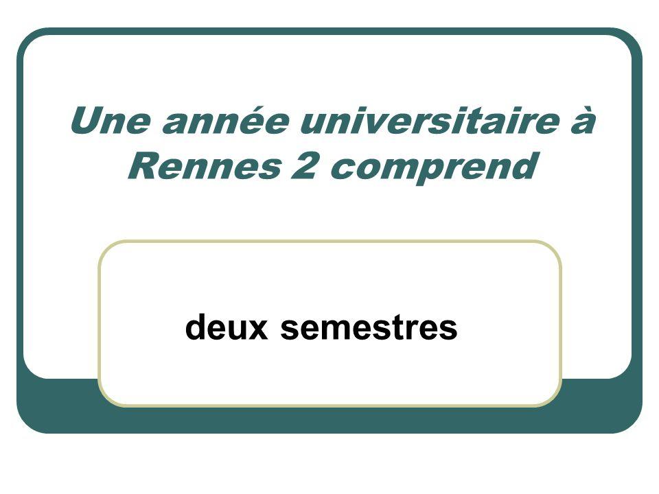 Une année universitaire à Rennes 2 comprend