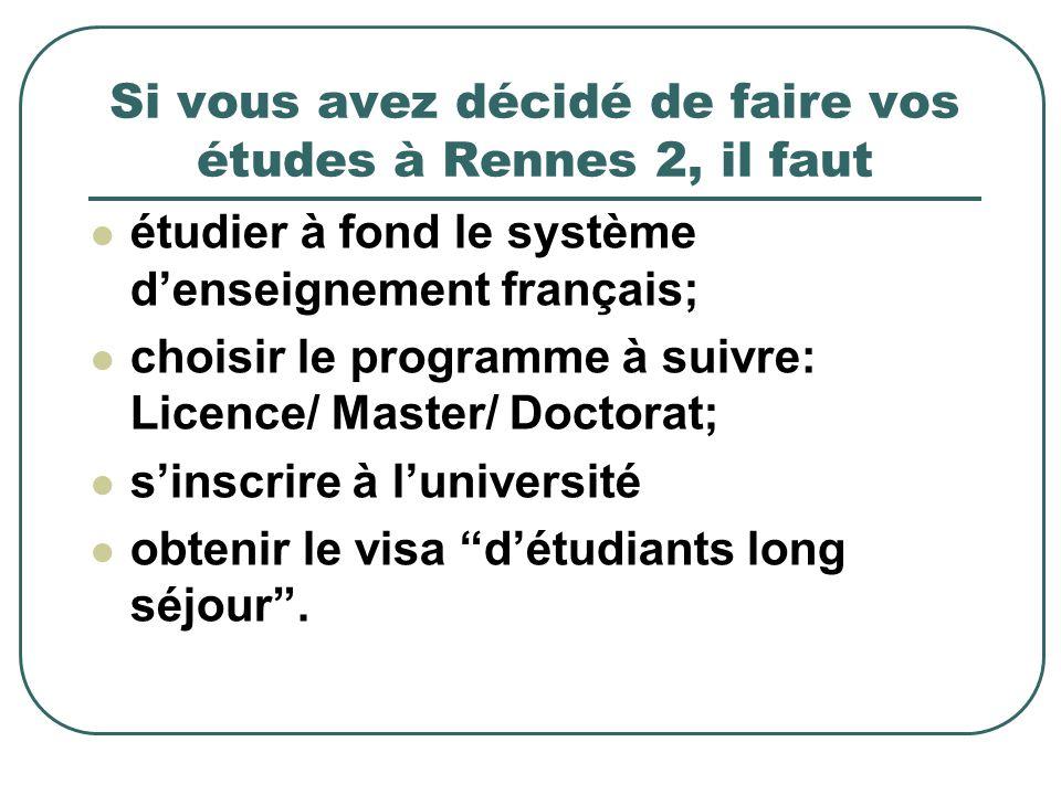 Si vous avez décidé de faire vos études à Rennes 2, il faut