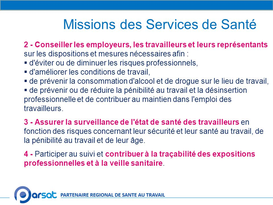 Missions des Services de Santé