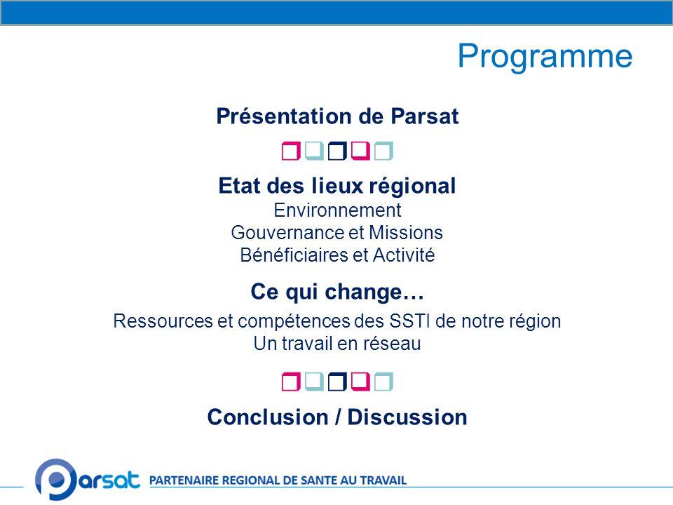 Présentation de Parsat Etat des lieux régional Conclusion / Discussion