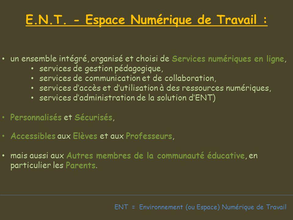 E.N.T. - Espace Numérique de Travail :