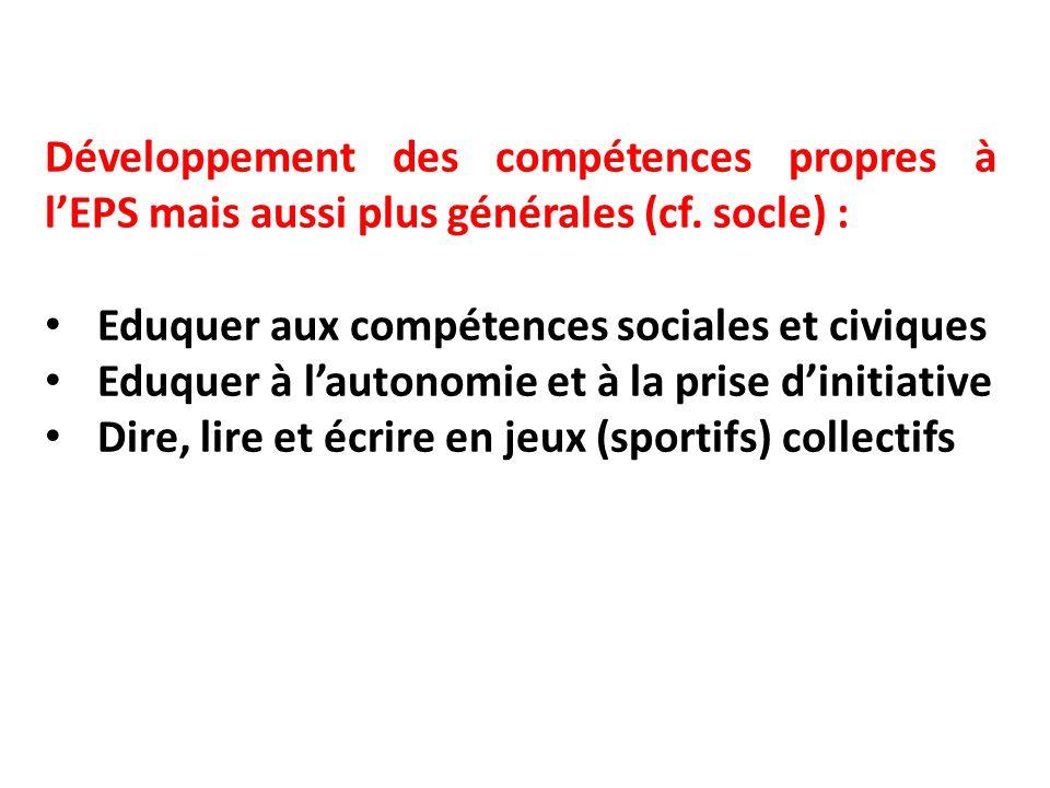 Développement des compétences propres à l'EPS mais aussi plus générales (cf. socle) :