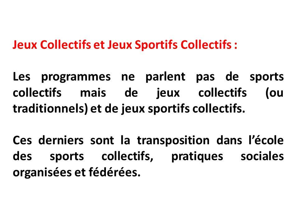 Jeux Collectifs et Jeux Sportifs Collectifs :