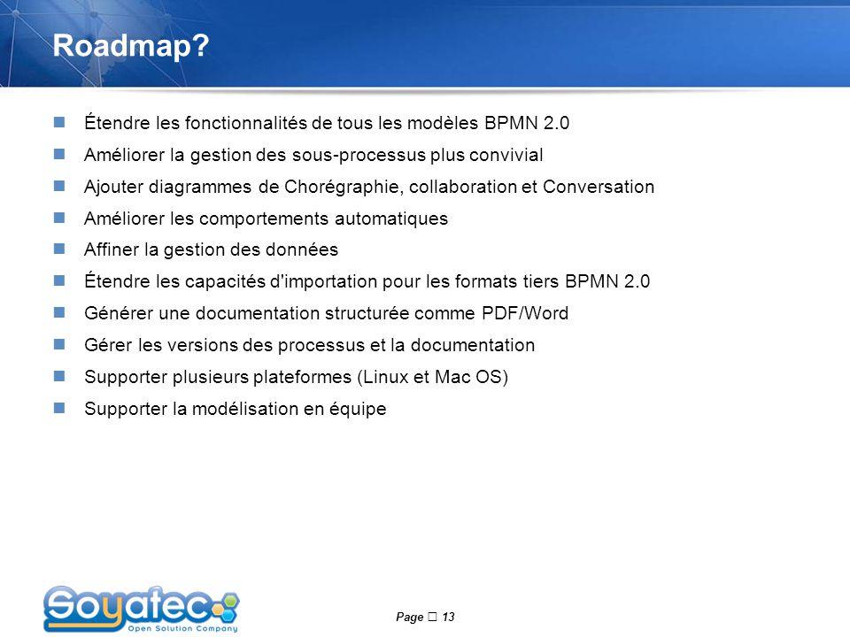 Roadmap Étendre les fonctionnalités de tous les modèles BPMN 2.0